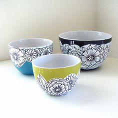 Ceramic Nesting Bowls Sprint Flowers Painted Green Black White Turquoise Blue Modern Folk Art Home Decor - MADE TO ORDER