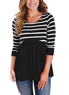 2e5e4ac9a3e287 Astylish Women s Casual Striped Color Block Tunic Peplum Babydoll Tops