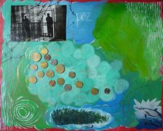 A healing artwork by Cyndi Briggs  . Including paint, magazine photos, and coins from the US, Mexico, and Guatemala. #sawtoothschool #wsnc sawtooth.org/...