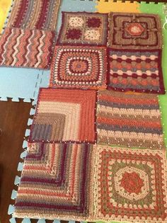 THE BLOG HOP - CAL - * SAMPLES OF AFGHANS - MADE BY OTHERS (NOT ME) All came from The Blog Hop FACEBOOK Page. (this photo shows the squares being blocked)