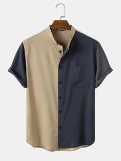New T Shirt Design, Shirt Designs, Stand Collar Shirt, Urban Fashion, Shirt Outfit, Trendy Outfits, Casual Shirts, Menswear, Color Khaki