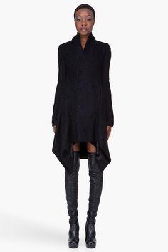 RICK OWENS //  BLACK MOHAIR OBLIQUE COAT Lovely!!!!
