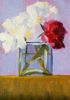 Flower Still Life, Oil Painting, Original  Still Life, Floral, Red Flower, White Flower, Small Oil Painting, 5x7, Canvas. $50.00, via Etsy.