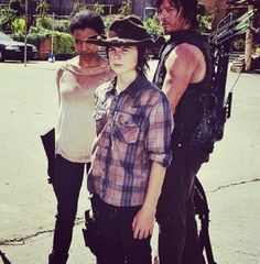 Sasha, Carl, and Daryl