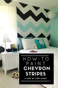 A step by step tutorial on how to paint chevron stripes. This tween room gets a bold graphic black white and turquoise painted wall treatment, home decor, home decorating Blue Bedroom, Trendy Bedroom, Bedroom Colors, Bedroom Wall, Girls Bedroom, Bedroom Decor, Bedroom Ideas, Striped Walls Bedroom, Girl Rooms