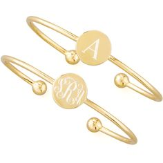 Sarah Chloe 18k Yellow Gold Vermeil Ella Engravable Disc Bracelet featuring polyvore, fashion, jewelry, bracelets, gold, sarah chloe bracelet, monogram jewelry, letter bracelet, engraved bangle and bracelet bangle