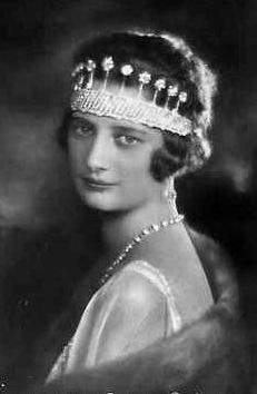 HM Queen Astrid of Belgium (1905-1935) née Her Royal Highness Princess Astrid of Sweden, wearing the nine provinces tiara. a wedding gift from the Belgian people She married the future King Leopold III in 1926. Unhappily, like the Princess of Wales and Princess Grace of Monaco, she died at a young age in an automobile accident, pregnant with her fourth chlld.
