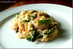 Mock Risotto with Shrimp and Roasted Asparagus