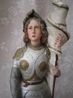 Stunning Antique FRENCH STATUE JEANNE D'ARC w. Sword Helmet & Banner Jesus Maria