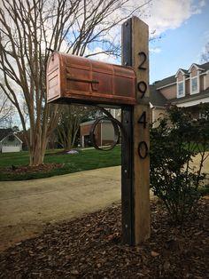 Custom, rustic oak, Corten steel and copper mailbox - Modern