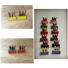 New cut out lapel pin colors available.  Orange and yellow in gold or silver metal.