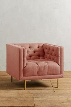 Pink Chair by Anthropologie Linen Mina Armchair