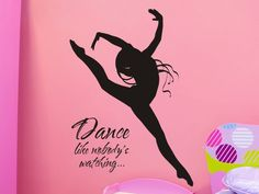 Wall Decal Dance Like Nobodys Watching with Dancer - Girls Bedroom Wall Decor. $25.00, via Etsy.