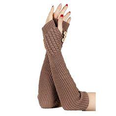 Khaki Knitted Button Hand Wrist Arm Warmer Beatnix Fashions