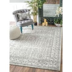 nuLOOM Vintage Waddell Grey 9 ft. x 12 ft. Area Rug RZBD22B-9012 at The Home Depot - Mobile