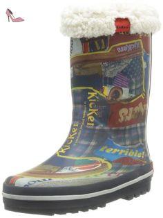 Kickers Rainyday, Bottes de pluie mixte enfant - Bleu (Marine Imprime 10), 33 EU - Chaussures kickers (*Partner-Link)