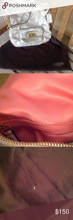 Coach Poppy Silver Purse This coach purse is authentic, given as a gift. Not one for brand name bags, hence I am selling it. Overall excellent condition. Tiny pen marking inside, outside near zipper and on dust bag. Please Ask A L L questions before purchasing to avoid any complications and feel free or request additional photos Coach Bags Shoulder Bags