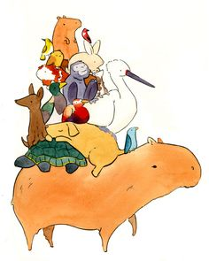 eloisedraws:  I don't really ever make fanart, but Animals Sitting on Capybaras was absolutely too much to resist.