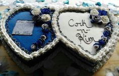 Two Hearts one Love wedding cake
