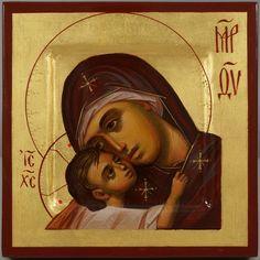Beautiful hand-painted miniature Orthodox icon of Theotokos Eleusa (Virgin Mary)  #ByzantineArt