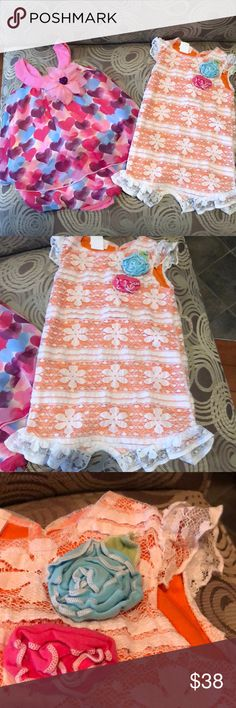 TWO Cach Cach rompers Soooo perfect for summer!!! Both in excellent gently worn condition! Flower embellishments on both!   The 1st is a pink. Unless style romper with baby blue, purple and pink hearts.   The second is an orange romper with a lace overlay! Cach Cach One Pieces