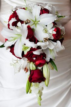 tear drop white lily and red rose bouquet-exactly what I want