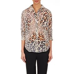 Chloé Women's Leopard Gauze Blouse ($995) ❤ liked on Polyvore featuring tops, blouses, brown, chloe top, colorful blouses, leopard top, colorful tops and leopard print top