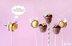 flower pot and bumble bee cake pops.