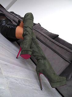 LANGE OVERKNEE STIEFEL HOHE PLATEAU NEU GRüN R59 SCHUHE BOOTS SEXY HIGH HEELS | Kleidung & Accessoires, Damenschuhe, Stiefel & Stiefeletten | eBay!