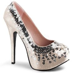 Bordello Teeze-06SQ Blush Platform Court Shoes Classic court shoes in holographic blush fabric with round toe, contrastive black flower adornments on vamp and all around the shoe edge and dramatic 6 inch (15 cm) stiletto high heels with matching b http://www.MightGet.com/january-2017-12/bordello-teeze-06sq-blush-platform-court-shoes.asp