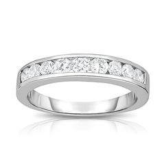 Noray Designs 14K White Gold Diamond (1/2 Ct, I1-I2 Clarity, G-H Color) Channel Wedding Band