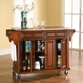 Found it at Wayfair - Kitchen Cart with Steel Top and Barstools in Cherry
