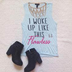 'I Woke Up Like This' graphic tank Perfect graphic tee to pair with leggings and booties!  Necklace sold in separate post! Size small. Only worn once! Fraying under armpits but it's the way it was purchased. Looks like a cut muscle tee. Small barely noticeable pull on back pictured above. Smoke and pet free home. Make an OFFER today!  Happy shopping!  Forever 21 Tops Tank Tops