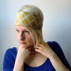 Yellow and Natural Bamboo Lattice Wide by TheBlondeFactory on Etsy, $13.00