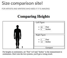 Characters - Size Comparison website