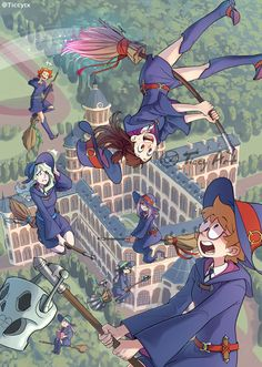 See more 'Little Witch Academia' images on Know Your Meme! Fanarts Anime, Anime Characters, Manga Anime, Anime Art, Little Witch Academia Lotte, Little Wich Academia, Totoro, Lwa Anime, Witch Flying On Broom