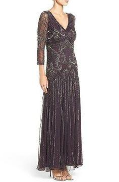 Pisarro Nights Bead sequin mesh 3/4 sleeve maxi dress Gown Formal Wedding SZ 16