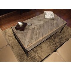 The Herringbone Unfinished Old Barn Wood Coffee Table ($430) ❤ liked on Polyvore featuring home, furniture, tables, accent tables, coffee & end tables, grey, home & living, living room furniture, unfinished furniture and handmade tables