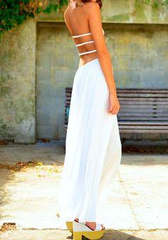 Bandeau Split Maxi Dress – White - Elegant White Maxi Dress