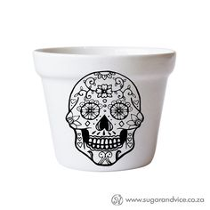 Planter - Sugar Skull #cape-town #ceramics #day-of-the-dead #friendship-day #functional-ceramics #handmade-in-cape-town #handmade-in-south-africa #made-in-cape-town #made-in-south-africa #mexican-skull #online-shop #plant-pot #proudly-south-african #south-africa #south-african-designer #sugar-skull