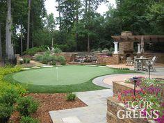 corner Putting  green backyard design | ... installed Tour Greens backyard putting greens and short game greens