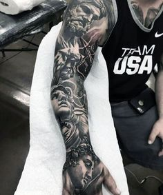 106 Insanely Hot Tattoos For Men Imposing Greek Gods tattoo. Angel Sleeve Tattoo, Arm Sleeve Tattoos, Mens Full Sleeve Tattoo, Full Arm Tattoos, Forearm Sleeve, Men Tattoo Sleeves, Arm Tattoos For Guys Forearm, Back Tattoo Men, Black Sleeve Tattoo