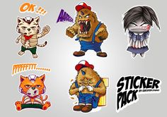 Create 3 Unique Video Game Inspired Cartoon Characters for Stickers in Mobile App! by Executor