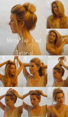 Peinados - Hairstyles - Messy Top Knot Tutorial, this is always my dirty hair day go-to. Lazy Girl Hairstyles, Messy Bun Hairstyles, Pretty Hairstyles, Layered Hairstyle, Everyday Hairstyles, Casual Hairstyles, Wedding Hairstyles, Diy Hairstyles, Beehive Hairstyle