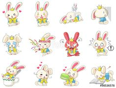 Vector: Cute cartoon rabbit mascot costume in action and expression icon set in Japanese manga style, create by vector.