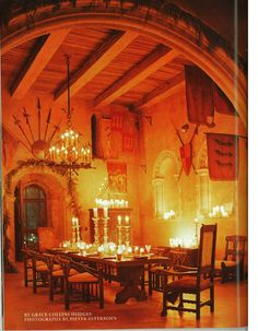 What a beautiful place this would be to enjoy a wonderful dinner and conversation. Just add a lovely Christmas Tree and festive decorations! English Christmas, Old World Christmas, Old Fashioned Christmas, Christmas Carol, Christmas Tree, Goth Home, Castle House, Dining Room Design, Cool Rooms