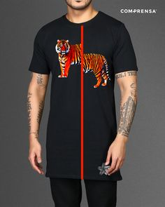 T-shirt made in Com- Prensa designed by us, exclusive design, you can use for your order. Cotton tiger print t-shirt featuring a round neck and short sleeves.  #manufacturer #barcelos #colours#tshirt #cotton #comprensa #fashion #model #fashion  #design #company #textile #portugal #sublimation #screenprinting #digitalprint #laser #photoprint