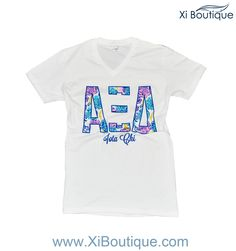 xi boutique custom alpha xi delta rose letters v neck