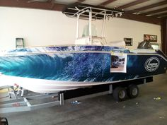 Longshore Robalo Boat Wrap in progress by Pleasant Details