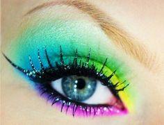 rainbow eyes hair-and-beauty-made-by-shmee Eye Makeup Cut Crease, Eye Makeup Art, Natural Eye Makeup, Makeup For Brown Eyes, Hair Makeup, Rainbow Eye Makeup, Rainbow Eyes, Rainbow Hair, Rainbow Colors
